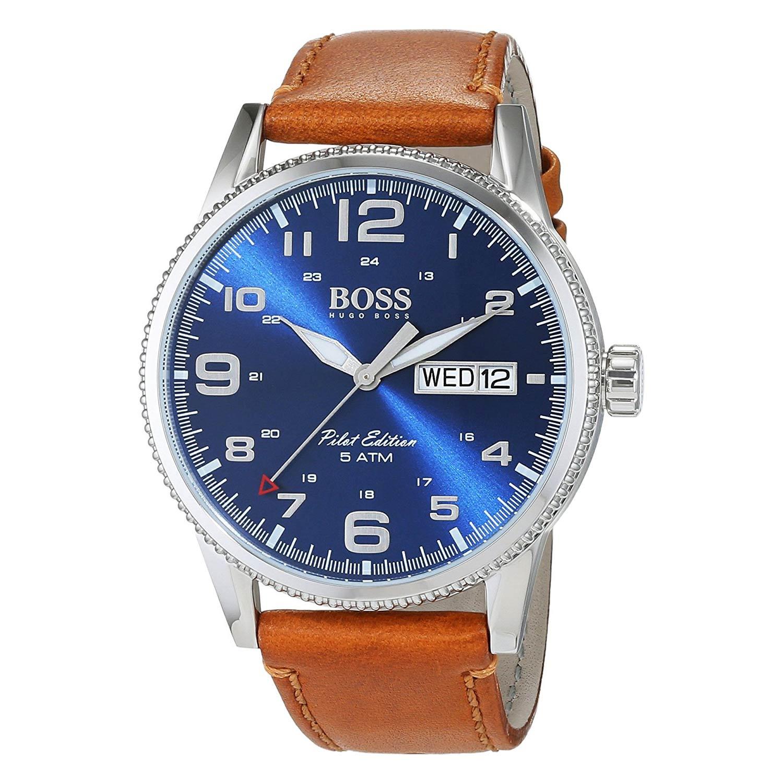 Hugo-Boss-1513331-Herrenuhr-im-extravaganten-Fliegeruhr-Design-mit-braunem-Lederband