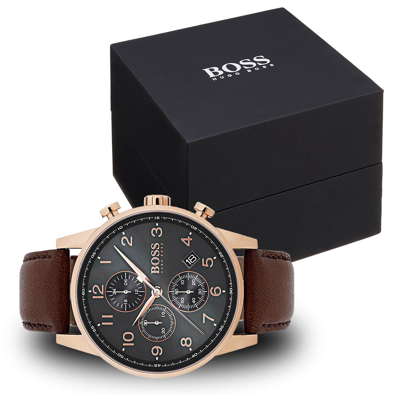 hugo boss 1513496 herren armbanduhr mit braunem lederarmband. Black Bedroom Furniture Sets. Home Design Ideas