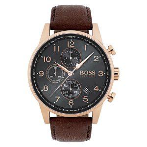 Hugo-Boss-1513496-Herren-Armbanduhr-mit-braunem-Lederarmband