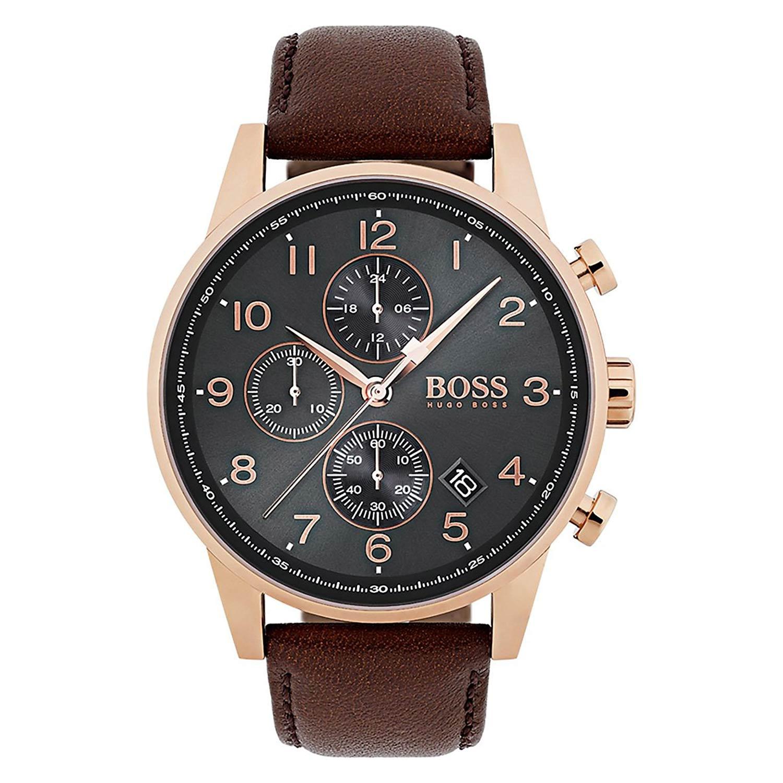 Sympathisch Xxl Uhren Dekoration Von Hugo-boss-1513496-herren-armbanduhr-mit-braunem-lederarmband
