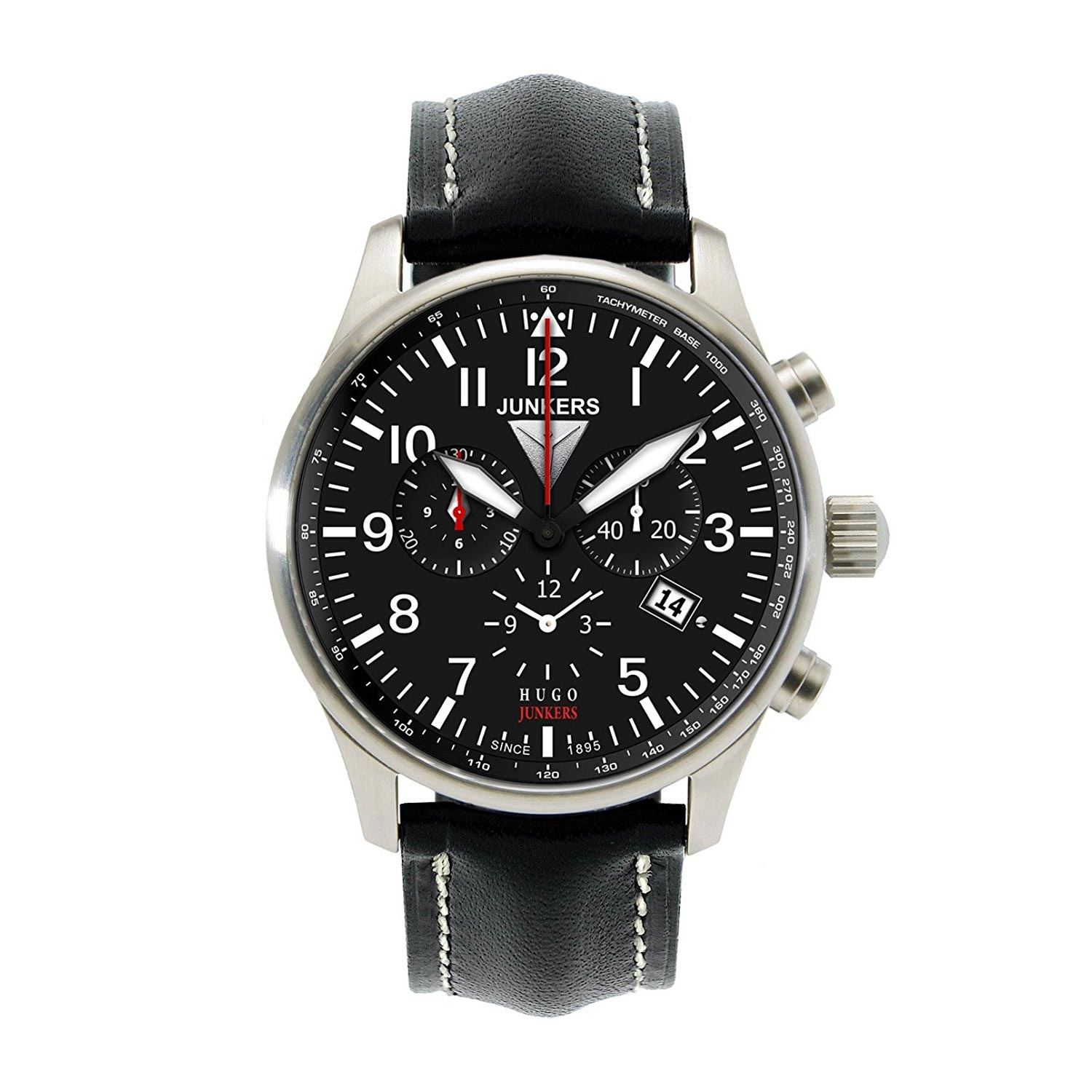 junkers flieger chronograph mit tachymeter l nette und quarzuhrwerk herrenuhren armbanduhren. Black Bedroom Furniture Sets. Home Design Ideas