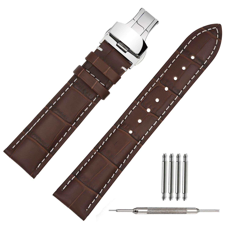 lederarmband in braun mit wei en n hten 20mm silberne faltschlie e. Black Bedroom Furniture Sets. Home Design Ideas