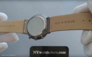 SKW6106-Skagen-Chronograph-mit-braunem-Lederarmband