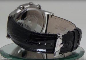 Silberner-Edelstahl-und-schwarzes-Leder-Armani-AR2432-Uhr-fuer-Herren