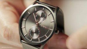 Skagen-Herren-Uhr-SKW6180-mit-Mineralglas-und-silbernen-Milanaise-Armband