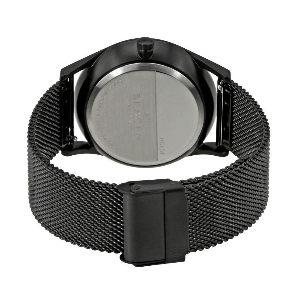 skagen skw6318 schwarze herrenuhr milanaise armband mineralglas. Black Bedroom Furniture Sets. Home Design Ideas