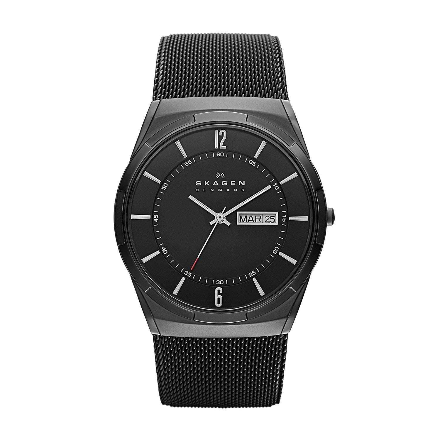 skagen titanium skw6006 schwarze herren titanuhr mit mesh. Black Bedroom Furniture Sets. Home Design Ideas