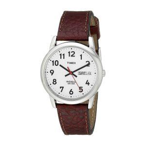 Timex-Easy-Reader-T20041-Herrenuhr-kompakte-Dresswatch-mit-stilvollem-Lederarmband