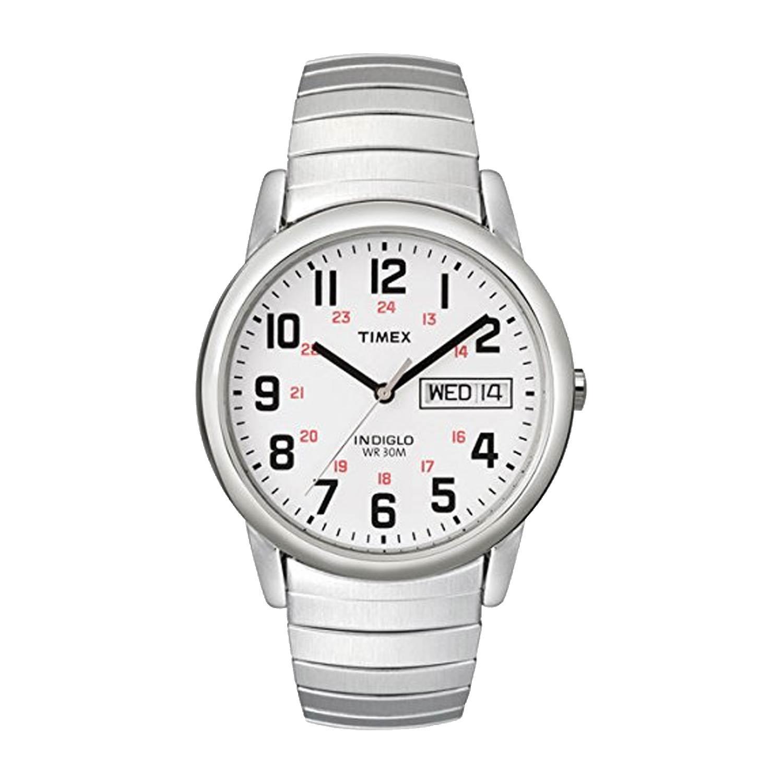 Timex-Easy-Reader-T20461-Herrenuhr-aus-Edelstahl-in-Silber-Weiss-mit-Gliederarmband