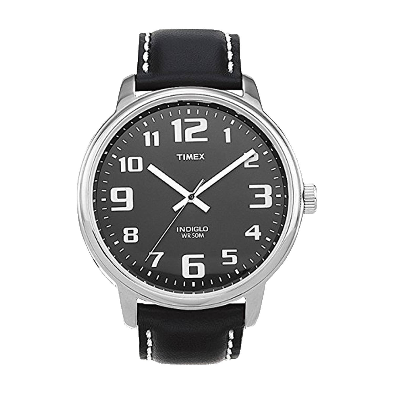 Timex-Easy-Reader-T28071-schwarze-Herrenuhr-mit-klassischem-Layout-und-echtem-Lederarmband