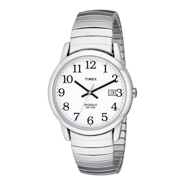 Timex-Easy-Reader-T2H451-silberne-Herrenuhr-mit-Edelstahl-Gliederarmband-Mineralglas
