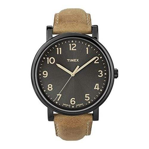 Timex-Easy-Reader-T2N677-schwarze-Herrenuhr-mit-braunem-Lederarmband-in-Wildleder-Optik