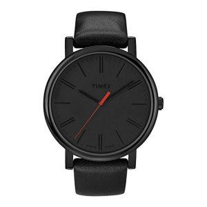 Timex-Easy-Reader-T2N794-schwarze-Herrenuhr-mit-Lederarmband-und-Quarzuhrwerk