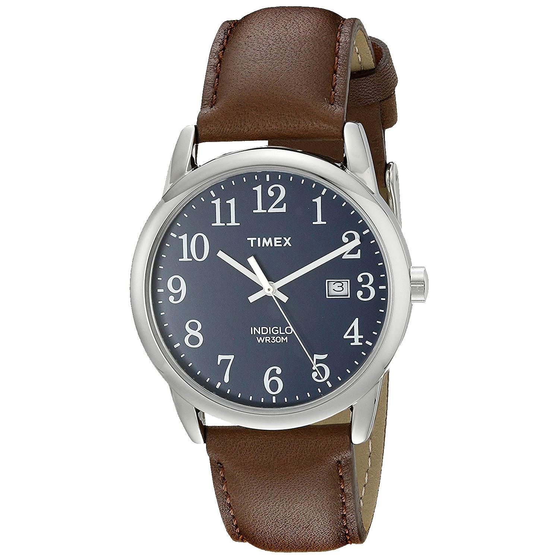 Timex-Easy-Reader-TW2P75900-Herren-Analoguhr-aus-poliertem-Edelstahl-mit-Echtlederarmband