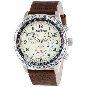 Timex-Expedition-Military-T49893-Herren-Chronograph-mit-braunem-Lederband-und-Mineralglas