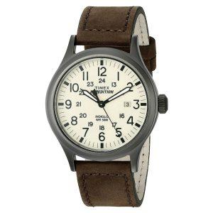 Timex-Expedition-Scout-T49963-Herrenuhr-mit-braunem-Lederarmband-und-Hintergrundlicht