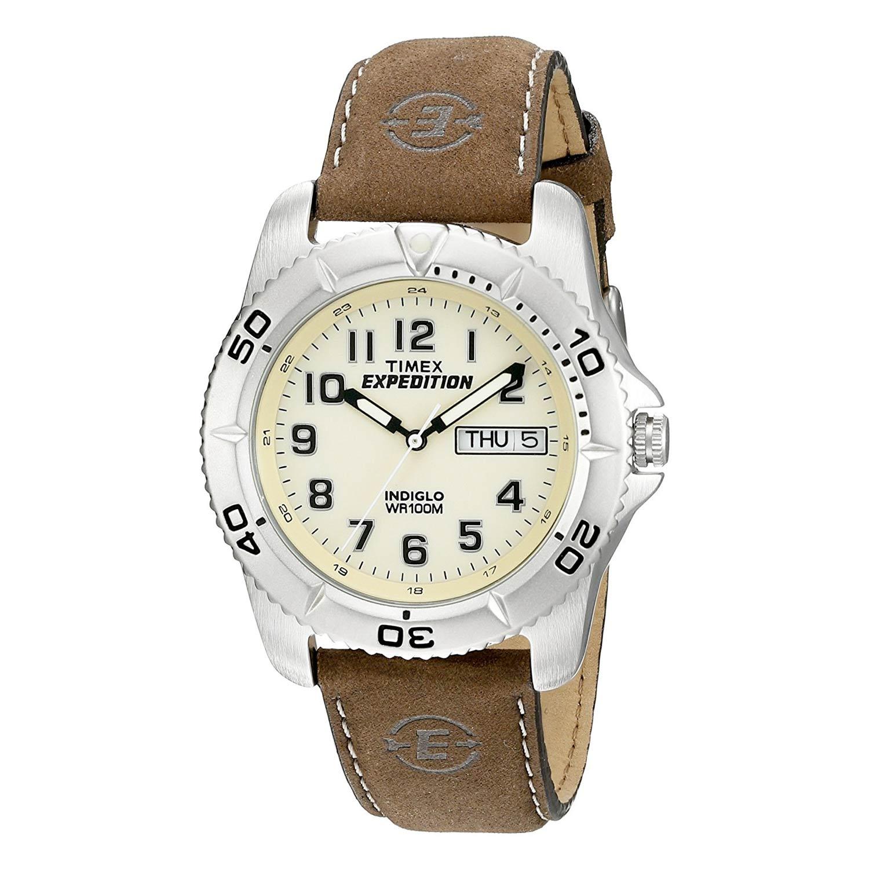 Timex-Expedition-T46681D7-Outdoor-Herrenuhr-mit-braunem-Lederband-und-silbernem-Edelstahlgehaeuse
