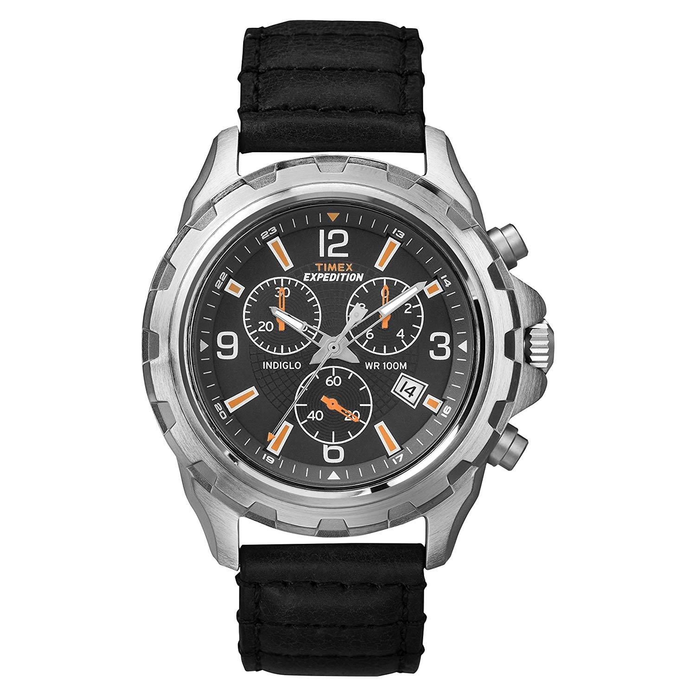 Timex-Expedition-T49985-Rugged-Chronograph-sportliche-Herrenuhr-Silber-Schwarz