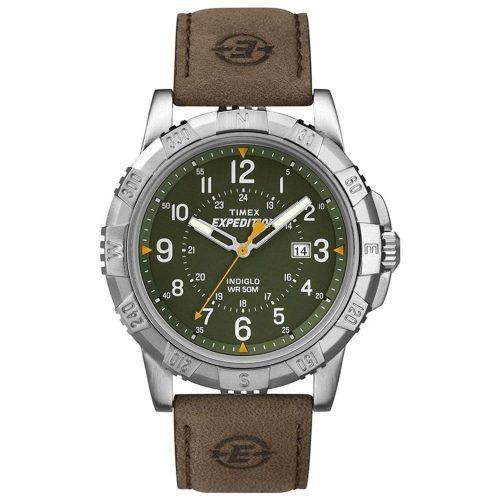 Timex-Expedition-T49989-Herren-Outdoor-Uhr-mit-kratzfestem-Mineralglas-Lederband-Kompass-Luenette