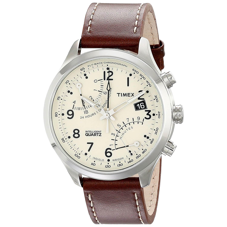 Timex-Intelligent-Flyback-T2N932D7-Chronograph-mit-braunem-Lederarmband