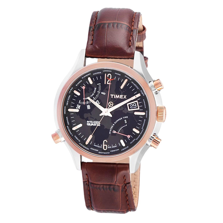 Timex-Intelligent-Quarz-T2N942-Herrenuhr-mit-Weltzeit,-retrograder-Zeitanzeige-in-Rosegold-Silber
