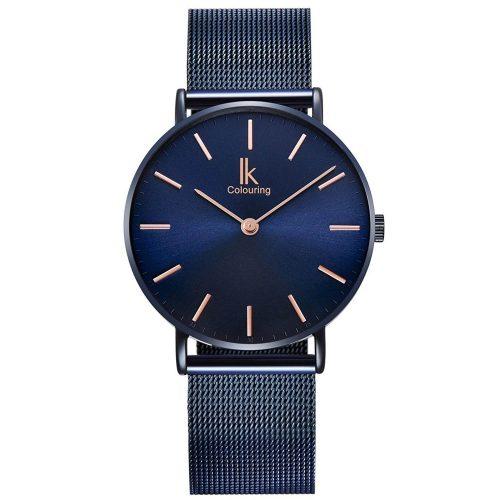 Alienwork-blaue-Herrenuhr-IK-Colouring-98469NBG-mit-Milanaise-Armband-und-Quarzuhrwerk