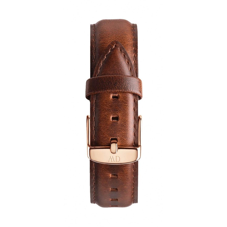 Braunes-Lederarmband-von-Daniel-Wellington-20mm-breit-mit-goldener-Dornschliesse