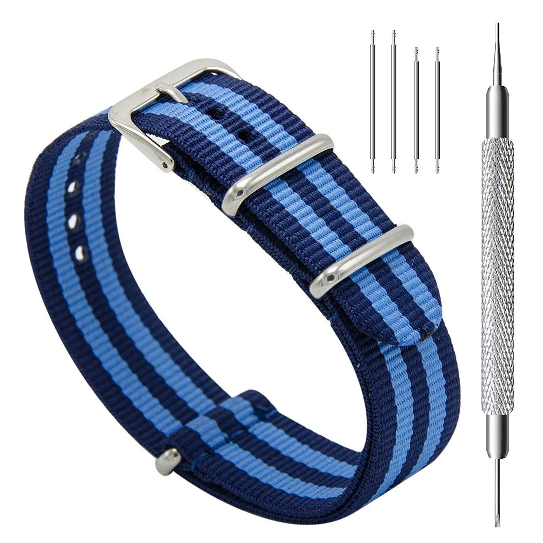 CIVO-Nylon-Uhrenarmband-mit-blauen-Streifen-Nato-Armband-20-mm-Nylon-Textilgewebe