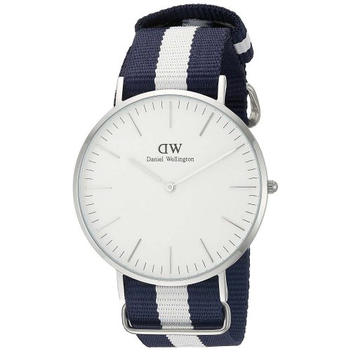 Daniel-Wellington-Glasgow-Armbanduhr-0953DW-mit-blau-weissem-Nato-Armband