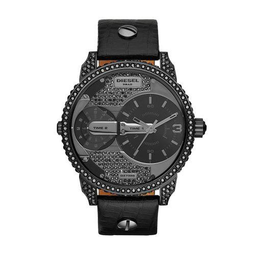 Diesel-DZ7328-Armbanduhr-mit-schwarzen-Glassteinen-und-Echtlederarmband-1