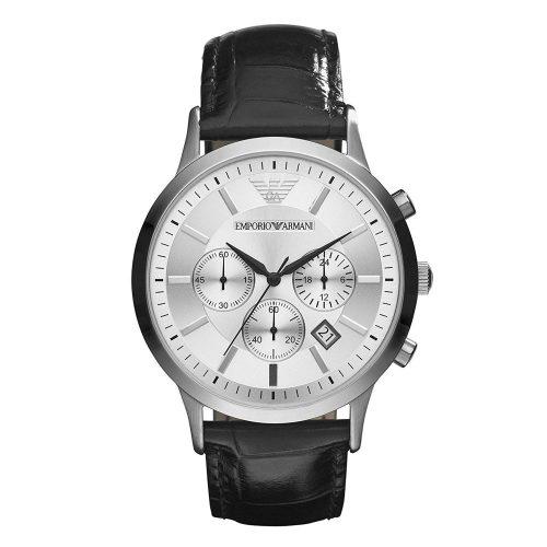 Emporio-Armani-AR2432-Herrenuhr-mit-silbernen-Zifferblatt-und-schwarzem-Lederband