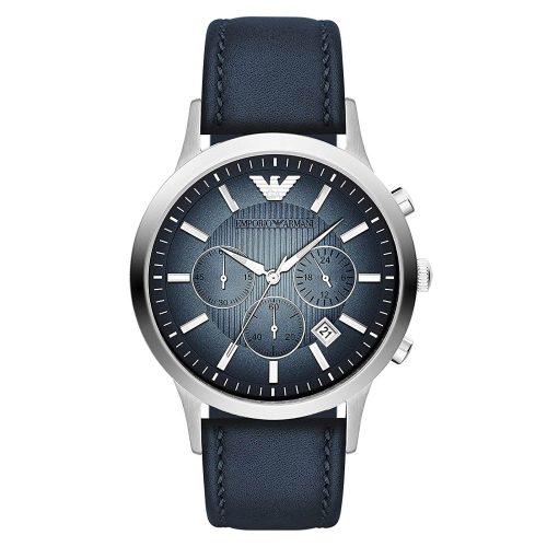 Emporio-Armani-AR2473-Chronograph-mit-blauem-Ziffernblatt-und-blauem-Lederarmband