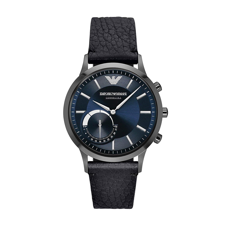 Emporio-Armani-Connected-ART3004-Hybrid-Uhr-mit-schwarzem-Lederarmband