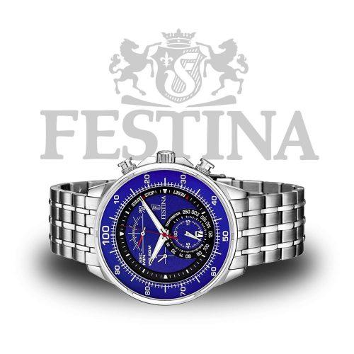 Festina-Chronograph-F6830-3-Herrenuhr-Silber-Blau
