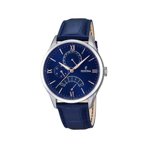 Festina-F16823-3-Retro-Herrenuhr-blaue-Analoguhr-mit-Mineralglas-und-Quarzwerk