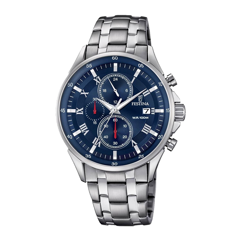 Festina-F6853-3-Timeless-Sport-Chronograph-in-Silber-Blau-mit-Markenuhrwerk-aus-Japan