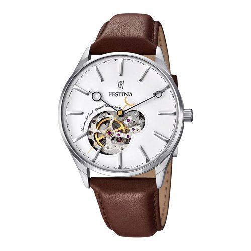 Festina-Herren-Armbanduhr-F6846-1-in-Braun-Silber-mit-mechanischem-Uhrwerk-und-Echtlederarmband