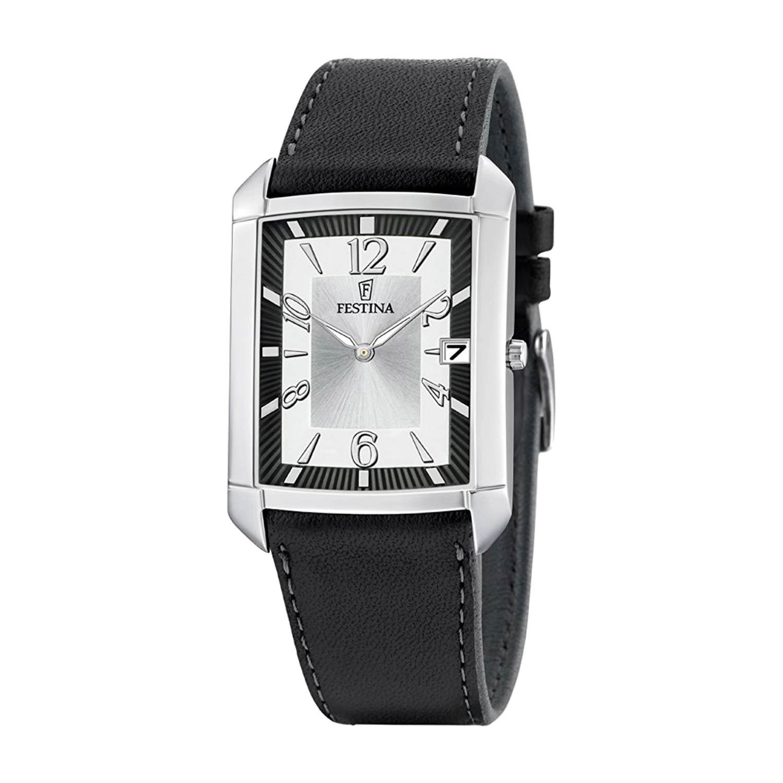 Festina-Herrenuhr-F6748-1-eckige-Analoguhr-mit-klassischem-Design-in-Schwarz-Silber