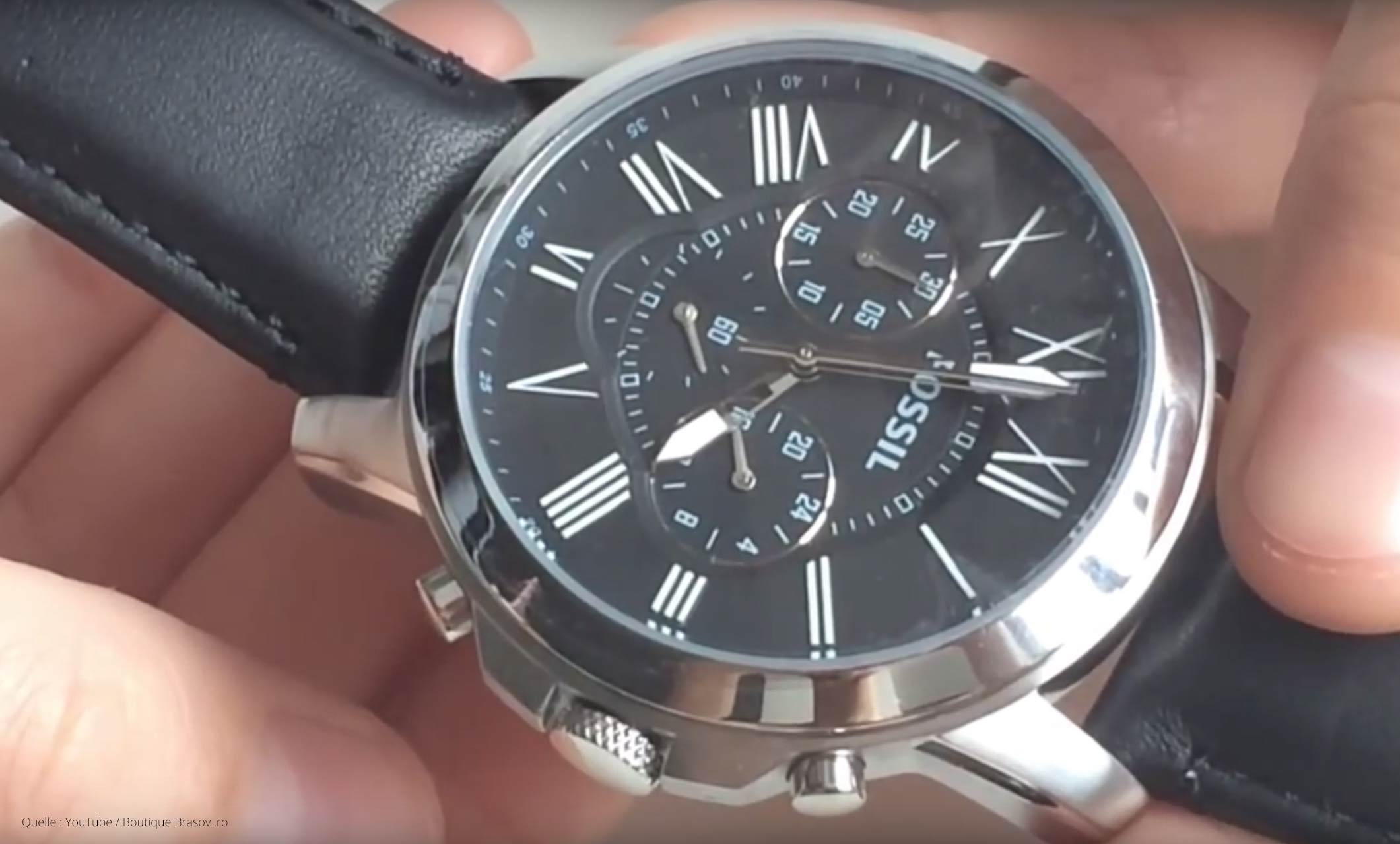 Fossil Uhr Herrenuhr FS4812 Grant aus Edelstahl mit Lederband