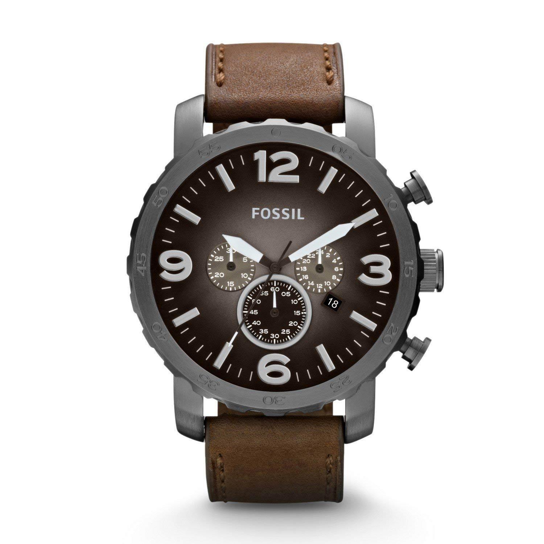 Fossil-Herrenuhr-JR1424-Nate-Chronograph-in-Braun-Grau-Industrial-Design
