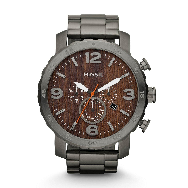 Fossil-JR1355-Oversized-Herrenuhr-XL-Chrongraph-mit-Holz-Optik-Ziffernblatt