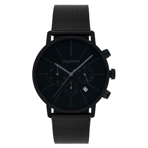 Gigandet-G32-008-Minimalism-Chronograph-mit-schwarzem-Milanaiseband-und-Quarzuhrwerk