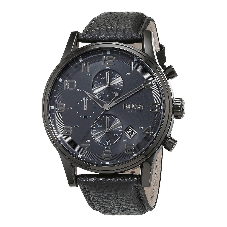 Hugo-Boss-1512567-Herrenuhr-in-schwarz-mit-schwarzem-Kroko-Lederarmband