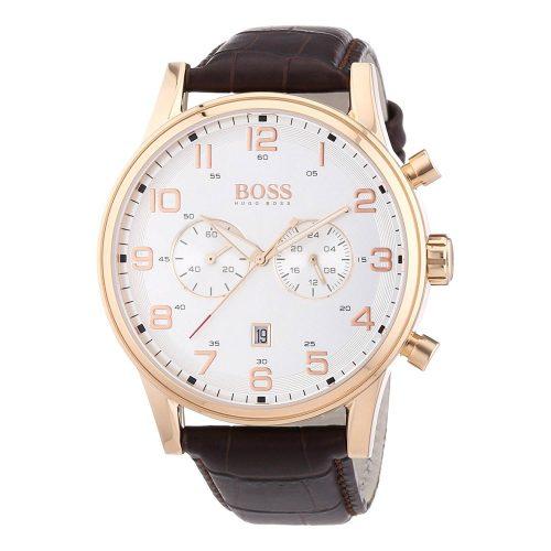 Hugo-Boss-1512921-Herrenuhr-in-Gold-Weiss-mit-Kalbslederarmband
