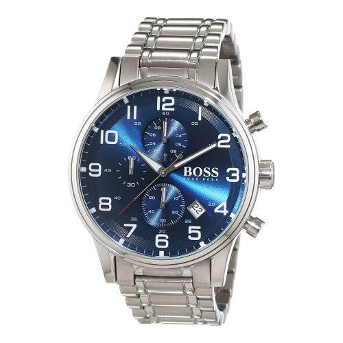 Hugo-Boss-1513183-Herrenuhr-blaues-Ziffernblatt-mit-Sonnenschliff-und-Gliederarmband
