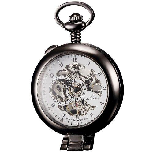 Kronen-Soehne-Taschenuhr-KS-KSP064-mit-selbststehndem-Design-und-mechanischem-Uhrwerk
