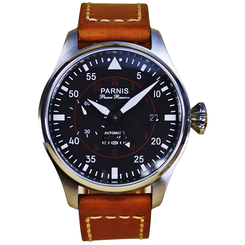 Parnis-Fliegeruhr-Vintage-Armbanduhr-mit-Automatikuhrwerk-und-Rindsleder-Armband-1