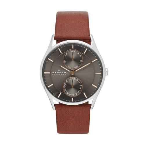 Skagen-SKW6086-Holst-edle-Herren-Business-Uhr-in-Braun-Silber-Grau