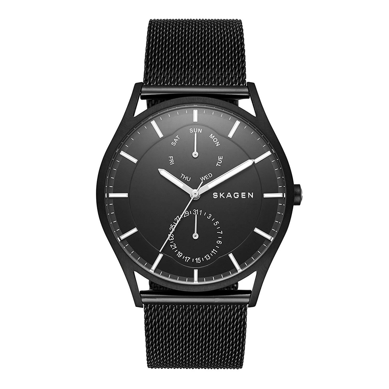 Skagen-SKW6318-schwarze-Herrenuhr-mit-Milanaise-Armband-und-Mineralglas
