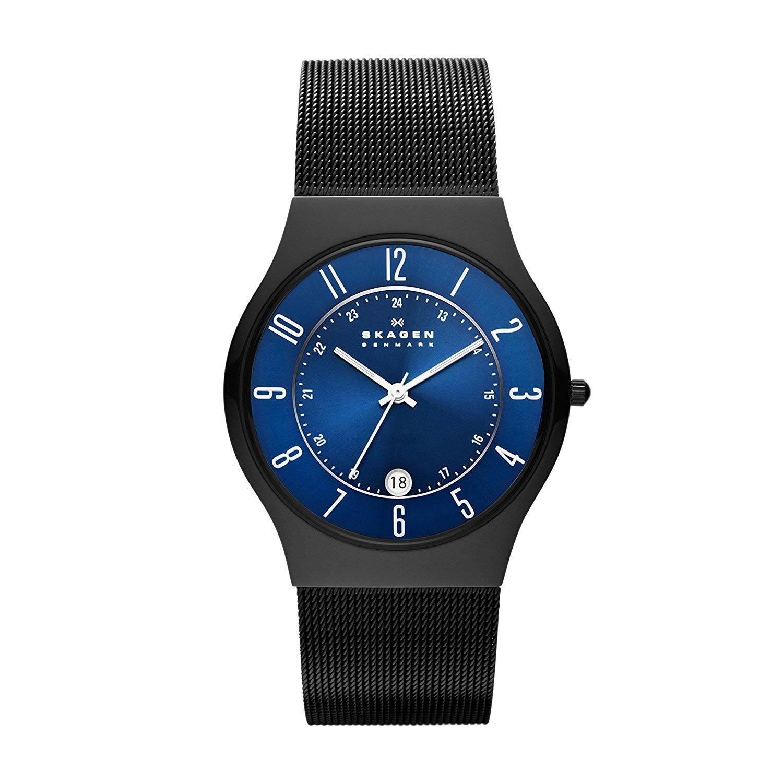 Skagen-T233XLTMN-schwarze-Titanuhr-für-Herren-mit-Mesh-Armband